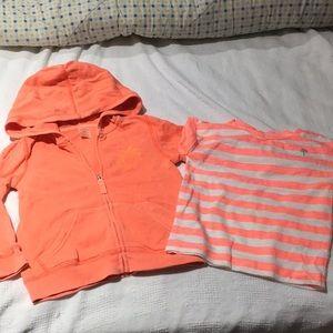 Carters sweat/ T-shirt bundle orange faded worn 1